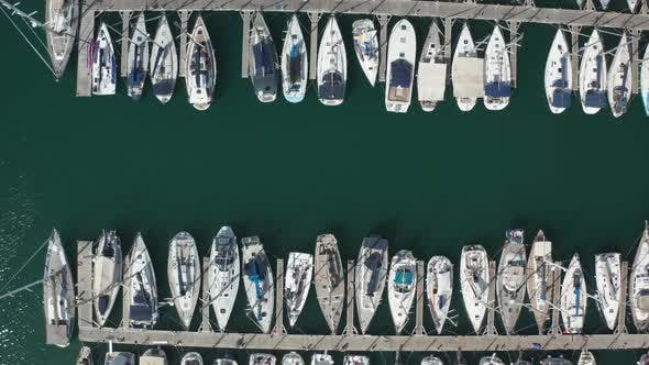 Thumbnail for Top View of Yachts in Turquiose Water of Harbor
