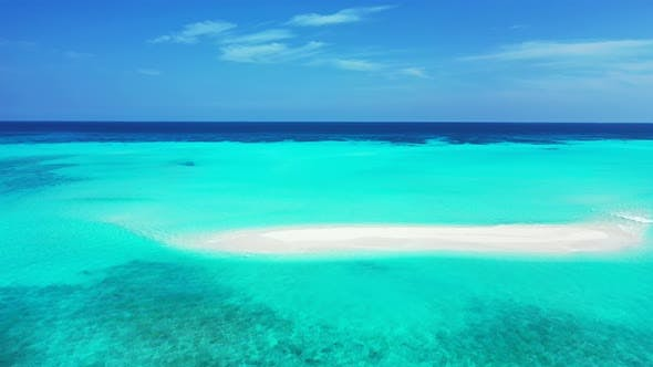 Thumbnail for Natural overhead abstract view of a white paradise beach and blue water background in colorful 4K