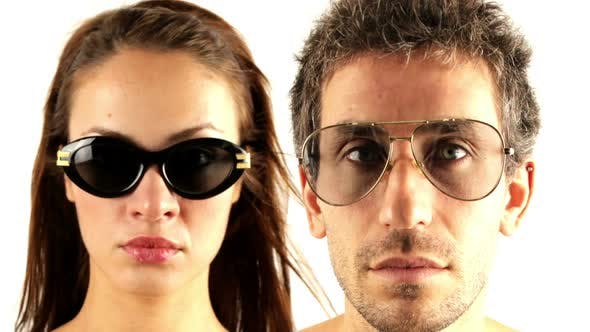 Thumbnail for man and woman wearing different retro sunglasses