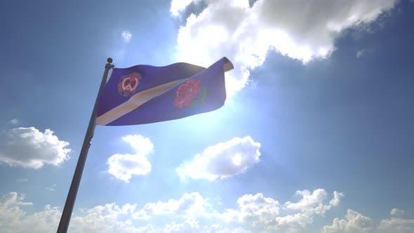 Windsor City Flag (Ontario) on a Flagpole V4 - 4K