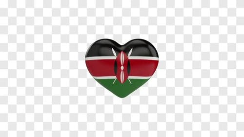 Kenya Flag on a Rotating 3D Heart