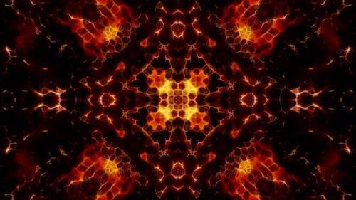 Abstract Fractal Fire Kaleidoscope Background Loop 4K 03
