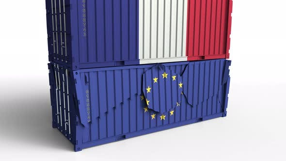Thumbnail for Container with Flag of France Breaks Container with Flag of EU