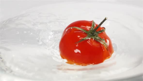 Thumbnail for One Red Ripe Tomato with Green Leaves Falls Under Water