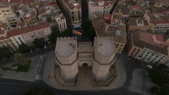 Serranos Towers and Valencia panorama, aerial view