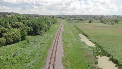 Empty single railroad in countryside