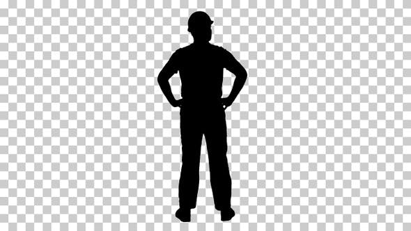Silhouette Engineer in construction helmet standing, Alpha Channel