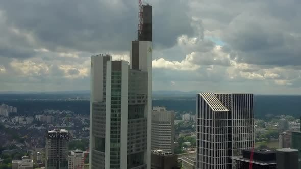 Thumbnail for AERIAL: Close Up of Frankfurt Am Main, Germany Skyline with Clouds, Cloudy