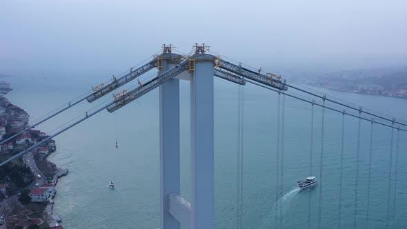 Thumbnail for Istanbul Bosphorus Bridge Snowing Aerial View
