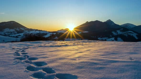Thumbnail for Blue Sunrise over Alpine Mountains in Sunny Winter Landscape