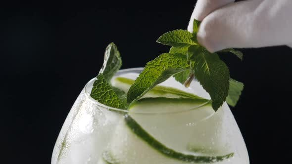 Thumbnail for Bartender Putting Mint Leaves on a Glass with Cucumber Cocktail Shot on Black Background. Bartender