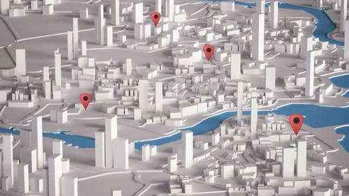 Aerial View of City Buildings 3D Rendering With Red Point Map