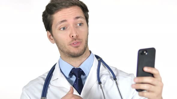 Thumbnail for Online Video Chat on Smartphone by Doctor, White Background