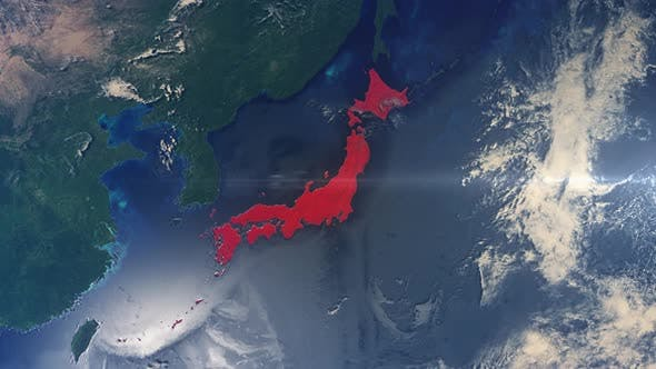 Realistic Earth Zoom Red Alert Highlight Country Japan