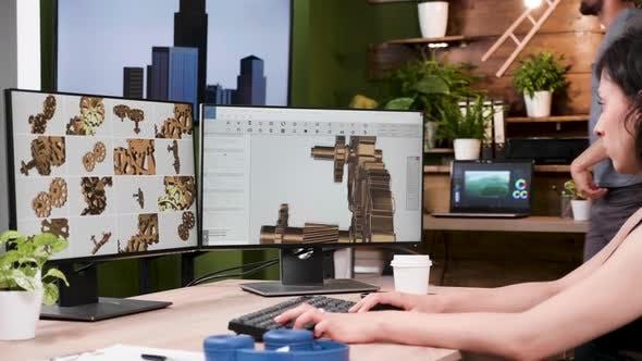 Thumbnail for Female Designer Works in 3D CAD Designer Software
