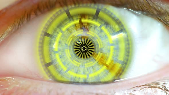 Cover Image for Opening Eye To Reveal Digital Hud Hologram Over Pupil Yellow 01