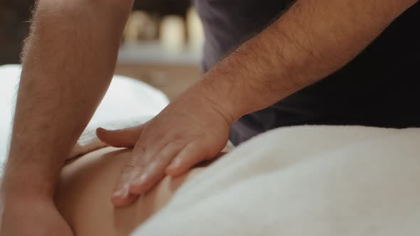 Thumbnail for Male Masseur Hands Burn Fat by Anti-Cellulite Massage. Woman Receiving Stomach Massage in Spa Salon