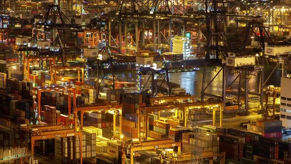 Cover Image for Container Port Hong Kong Cranes and Equipment Load Cargo Vessels