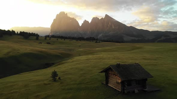 Aerial video of the sunrise in the Dolomites mountains