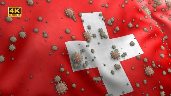 Thumbnail for Covid Switzerland Flag / Corona Switzerland Flag - 4K