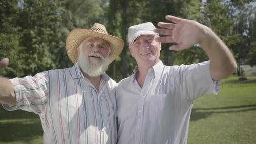 Two Handsome Old Men Looking in the Camera Waving Hands in the Park