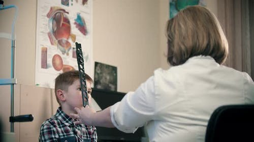 A Treatment in Eye Clinic - a Woman Doctor Checking an Eye Visibility of a Little Boy Using