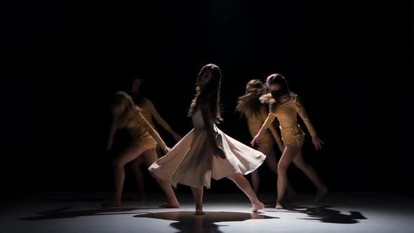 Thumbnail for Five Beautiful Girls Start Dancing Modern Contemporary Dance, on Black, Shadow