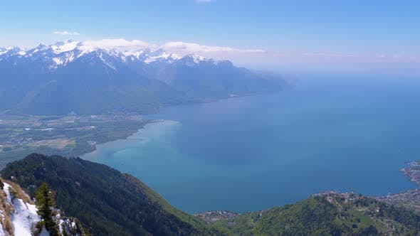 Thumbnail for Panoramic View From the Top of the Mountain Rochers De Naye on Lake Geneva, Montreux, Switzerland