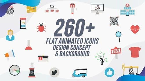 Plat Animated Icones Pack/Concepts et Arrière-plans de conception
