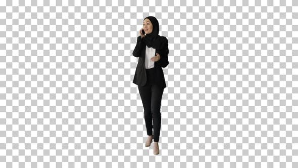 Thumbnail for Attractive modern muslim woman walking, Alpha Channel