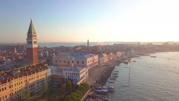 Thumbnail for Aerial Orbit Over San Marco Square at Sunrise in Venice Italy