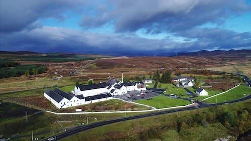 Aerial of a Distillery in Dalwhinnie Scotland