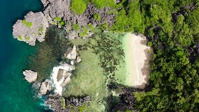Rocky Island with a Small Beach