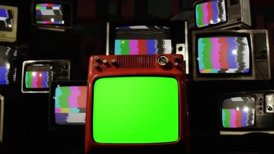 Vintage TVs with Color Bars and Green Screen. Zoom Into Green Screen.
