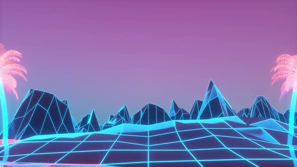 80s Retrowave Neon Background