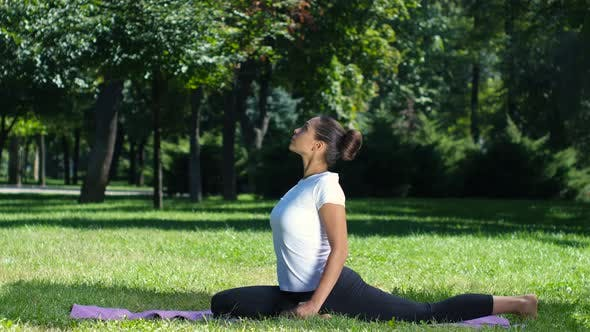 Thumbnail for Woman Working Out Doing a Stretch Exercise in the Park on a Yoga Mat