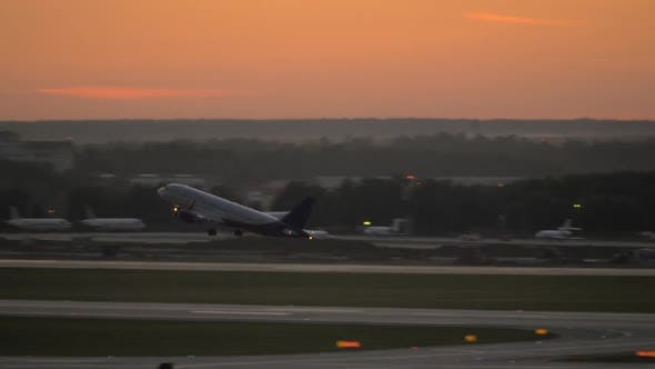 Thumbnail for Airplane Take-off in the Evening