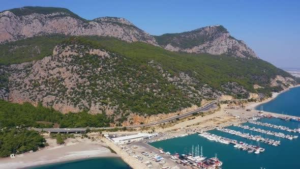 Aerial View of Yachts and Boats Anchored at Sea Port