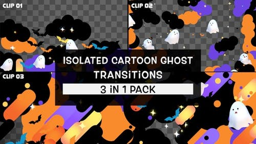 Isolated Cartoon Ghost Transitions Pack