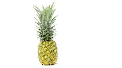 Pineapple Uncut on White Background