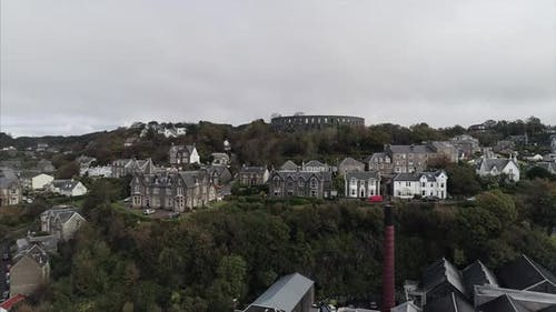 Flying Over Oban Town and Towards Mccaigs Tower