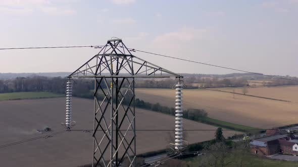 Thumbnail for High Voltage Electrical Pylon Close Up Aerial View
