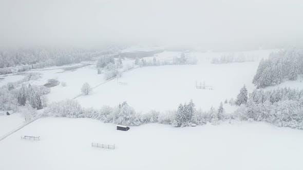 Flying over a winter landscape