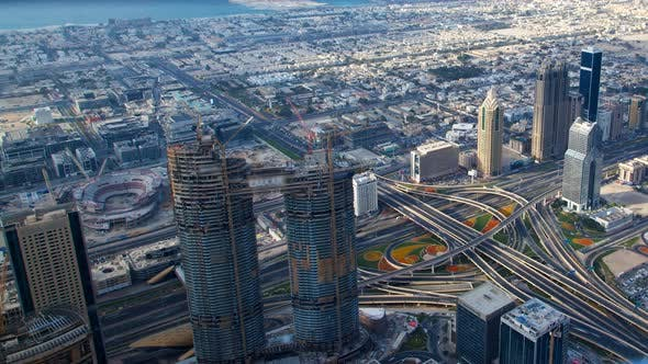 Dubai Scenic Aerial View of Big Highway Intersection Day Traffic Time-lapse