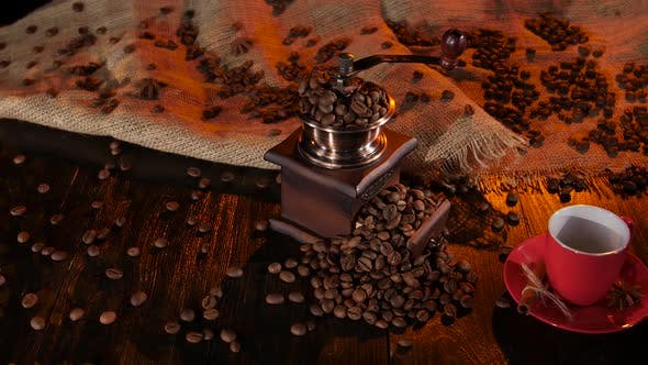 Thumbnail for Table with a Coffee Grinder Full of with Coffee Beans