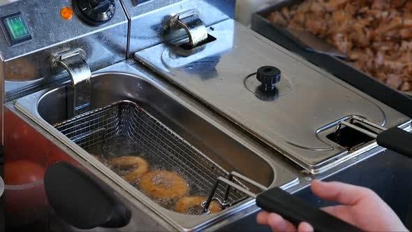 Frying Onion Rings in Fryer
