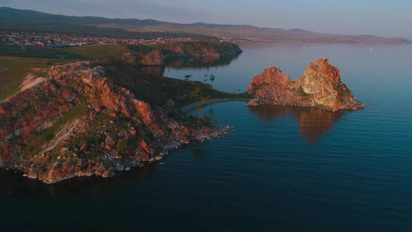 Cover Image for Shamanka Aerial Shot with Quadrocopter Lake Baikal, Summer Dawn