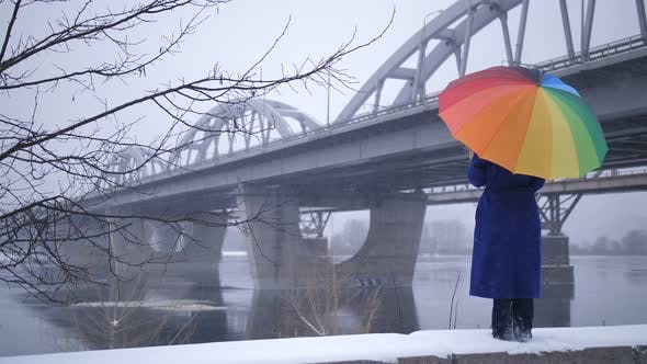 Thumbnail for Woman with Rainbow Umbrella Near Bridge in Winter