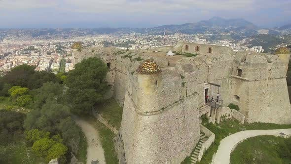 Quadrocopter Flying Around Old Fortress of Menton, Shooting Breathtaking View