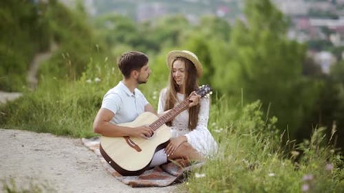 Beautiful Couple In Love In Nature On Romantic Date, Spending Time Together.
